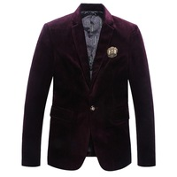 2014 New Man Fashion Corduroy Blazers Size M-2XL Turn Down Collar Single Button Design Young Men's Dress Suit Jackets