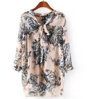 New Fashion Ladies' Long Shirts Tops Pink Bottom Black Flowers Bows V-Neck 3/4 Sleeve Womens Blouses Chiffon Blusas Femininas