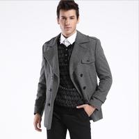 NEW Men's UK Style High Quanlity Stylish Woolen Trench Coat Windcoat Black Grey,M-XXXL,Business suit collar wool coat HOVD3H037