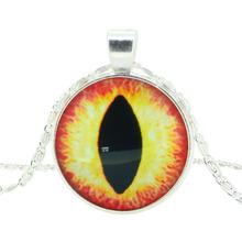 glass cabochon pendant necklace art picture silver color chain necklace vintage eye necklace jewelry fashion women