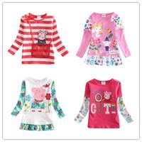 New Arrival Little Girls T-shirt Nova Kids Long sleeve Tees Baby Cartoon Clothing Rabbit Striped sweater Peppa pig Doraa Warm