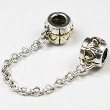 Free Shipping 925 Silver Bead Safety Chain Bead Charm European Bead Fit Pandora Bracelets Bangles H551