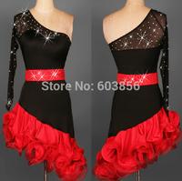 New Latin salsa tango Cha cha Dress Ballroom Dance Dress S-2XL black and red
