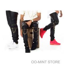 High Quantity PU Faux Leather Men Skinny Justin Bieber Clothes Slim Fit Hip Hop Hiphop Pants Zipper Swag Biker Jogger Kanye West(China (Mainland))