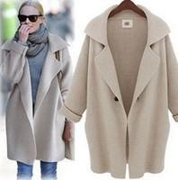 New 2014 winter coats big brand high quality Authentic fashion loose pure color knit women 's coat lapels WF-651