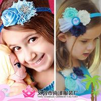 417 New Style Cartooon Frozen Princess Anna Elsa Flower Bow Crystal Baby Hair Accessories Kid Girls Headband Scrunchy Hair Band
