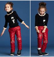 419 2014 winter 80 % white duck down warm boy girls long pant cat design children's casual trousers legging clothes
