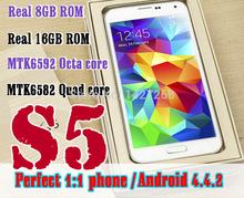 NEW 1:1 original LOGO cell Phones 2GB RAM 16GB ROM MTK6582 Quad Core MTK6592 Octa Core S5 phone Heart rate fingerprint Free DHL(China (Mainland))