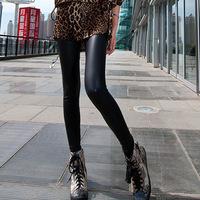 The New Fashion Women PU Leather Trousers Black Pantyhose Feet Pants Pencil Pants Slim