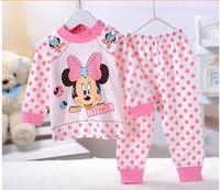 hot selling  In stock 2 pcs baby Unisex sleepwear suits toddler cartoon pajama Children 100% cotton long sleeve pajamas set