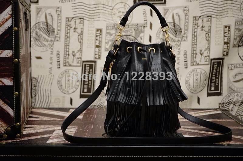 Asidun 2014/15 New Winter Classic Ys Super Star Love Imported Genuine Leather Fringe bag Women Bucket bag Tassel Shopping bag(China (Mainland))