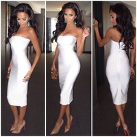 Hot !!!  Sexy Strapless Knee Length Bodycon Women White Bandage Dress New Arrival Celebrity Dresses Party Prom Evening Dress