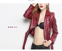 2014 Big Brand Fashion Slim Motorcycle Women Leather Jacket Autumn Winter Women PU Leather Trench Coat Free Shipping