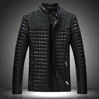 Autumn new arrival! Korean man coat leather jacket stand collar montage plus size bodiness outerwear jaquetas de couro   XY305