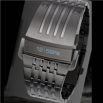 Новинка цифровой парни весь стали из светодиодов часы, спортивные часы мужчины военный часы металл из светодиодов безликий браслет часы наручные часы
