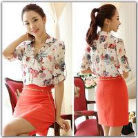 Summer Blouses Shirt Chiffon Tropical Flower Print S-6XL Plus Size Women Clothing Tops Roupas Casual Blouses Blusas Femininas