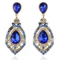 luxury elegant ocean blue rhinestone big fashion drop earrings 2014 Hot Sell Vintage Earings E063