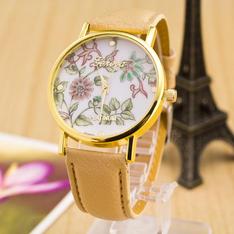 New Fashion Geneva Watches Platinum Women Floral Quartz Watch Daisy Flower Watch Clock Brown PU Leather Dress Watch 13 styles(China (Mainland))
