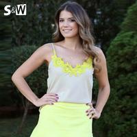 Free shipping Summer 2014 Fashion Women Blusas Camis Floar Chiffon Lace Tank Tops Casual Women Clothing