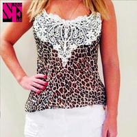 Hot sell 2014 summer fashion white Sexy tank top lace Condole belt Chiffon Blouse casual Leopard women blusas