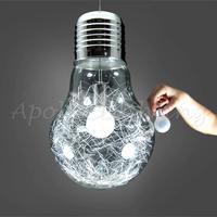 150mm~300mm Modern Glass Big LED Bulb Dining Room Bar Wire metal Ceiling Pendant Lamp Light Aluminum Lighting Fixture Creative