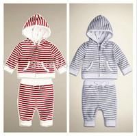 Wholesale Boy cloth set Soft Strip Hoodie Coat + Pant Children Tracksuits Baby Casual Sportsuits 6sets/lot