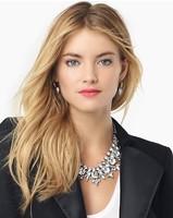 2014 NEW HOTSale gem Rhinestone Big Brand ZA necklace office lady necklace crystal necklace  Fashion Jewelry  for women