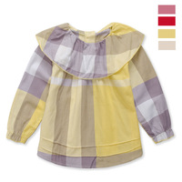 Infantil Long Sleeve Shirt For 2-6yrs Kids Plaid Clothes Girls Wear In Spring/autumn Round Collar Hot Sell 2014 High Quality 840