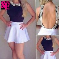 2014 Celebity Style Women Blouses sleeveless Pearl Beading Summer Casual Tops blusas