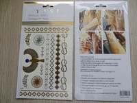 24 models available Gold & Silver Metallic Temporary Tattoos hot sell free shipping