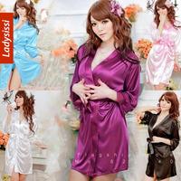2014 new Female lace Sexy Temptation Women Dress V-neck Bathrobe Rayon Silk Sleepwear Nightdress Robes kimono is soft lingerie