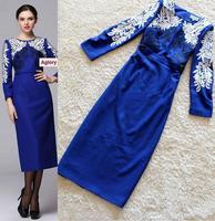 Top Quality New Fashion Winter Party Dress Women Luxury Embroidery Warm Wool Dress Long Sleeve Royal Blue Dress Elegant Vestido