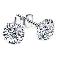 GNE0541 AAA Zircon Brand Silver Stud Earring Fashion 925 Sterling Silver Earrings Women Jewelry Gift  4mm/5mm/6mm/7mm/10mm