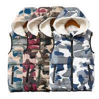Women cashmere Sleeveless camouflage Camo Military Waistcoat Hoodie Jacket Coat