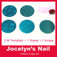 90Designs Nail Art Stamping,5pcs Stamp Image Plates and Scraper Template Set For Manicure,DIY Nail Polish Konad Mould Tools