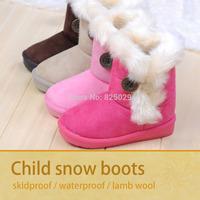 free shipping 2014 new child autumn winter snow boots children slip waterproof sneakers lamb wool cotton round toe soft bottom