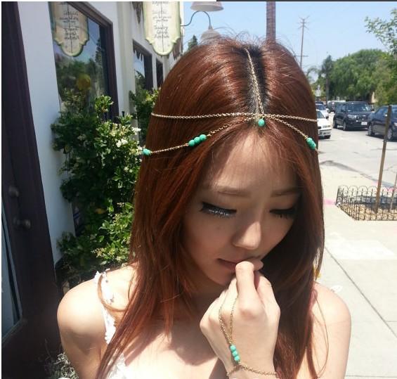 Hot Golden Turquoise multi tassel chain bohemian headband 2015 Fashion hair claws for women head jewelry(China (Mainland))