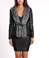 2014 winter Free Ship warm coats women wool slim belt leather wool coat winter jacket women fur women's coat jackets winter coat