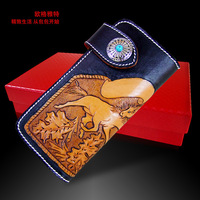 Hong Kong OLG. YAT Handmade carving leather Dressage duel wallet Italy pure leather long  purse elegant  wallet/ hand bag