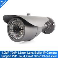720P Network IR Bullet ip cam Securiy CCTV HD IP camera 1.0MP, ONVIF 2.3, 3.6mm lens with IR-cut,48pcs led 30M IR Range p2p