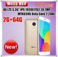 meizu mx4 gold mtk6595 octa core mobile phone 4G FDD LTE 2G RAM 32GB ROM 5.36 inch IPS 1920*1152 20.7MP 3100mah