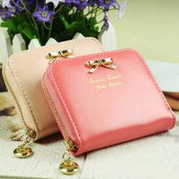 2015 Colorful Women's Fashional Mini Faux Leather Purse Zip Around Wallet Card Holders Handbag Short Small Purse