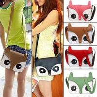 New Women Ladies Retro Shoulder Bag Cartoon Fox Print Fashion Messenger Bags Cute School Tote Owl Fox PU Handbags