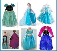 Free shipping Frozen Elsa Anna princess dress girl Holiday dresses elsa costume Frozen cosplay dress kids gift Hot sale