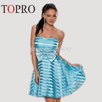 Topro 2015 New Fashion Strapless Big Swing Skater Mini Party Dresses Prom Bow Decorated Elegant Women Summer Dress HW0194