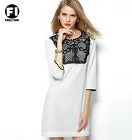 Fancyinn Brand 2014 Europe Original High Quality Casual Dress Linen Lace Women Dress