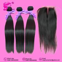 Brazilian Virgin Hair Straight 3pcs Human Hair Weave & 1 Lace Closure Unprocessed Hair Free Shipping