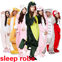 Winter warm cartoon sleep tops women 2014 cute Novelty home Dinosaurs  milk Panda hello kitty cat sleep Pajamas men gown robe