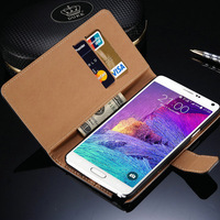 Real Genuine Leather case for Samsung Galaxy Note 4 Wallet Style Flip Stand Phone Back Cover with Card Slot Drop Ship
