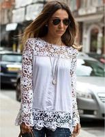 blusas de renda femininas 2014 Women white lace stitching Loose long-sleeved O-Neck shirt S M L XL XXL XXXL XXXXL XXXXXL
